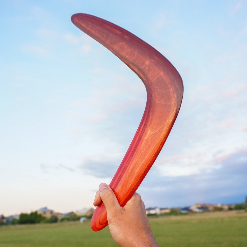 Brown red boomerang made of wood