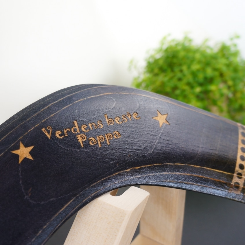 Boomerang Aztec personalized text engraved on the boomerang