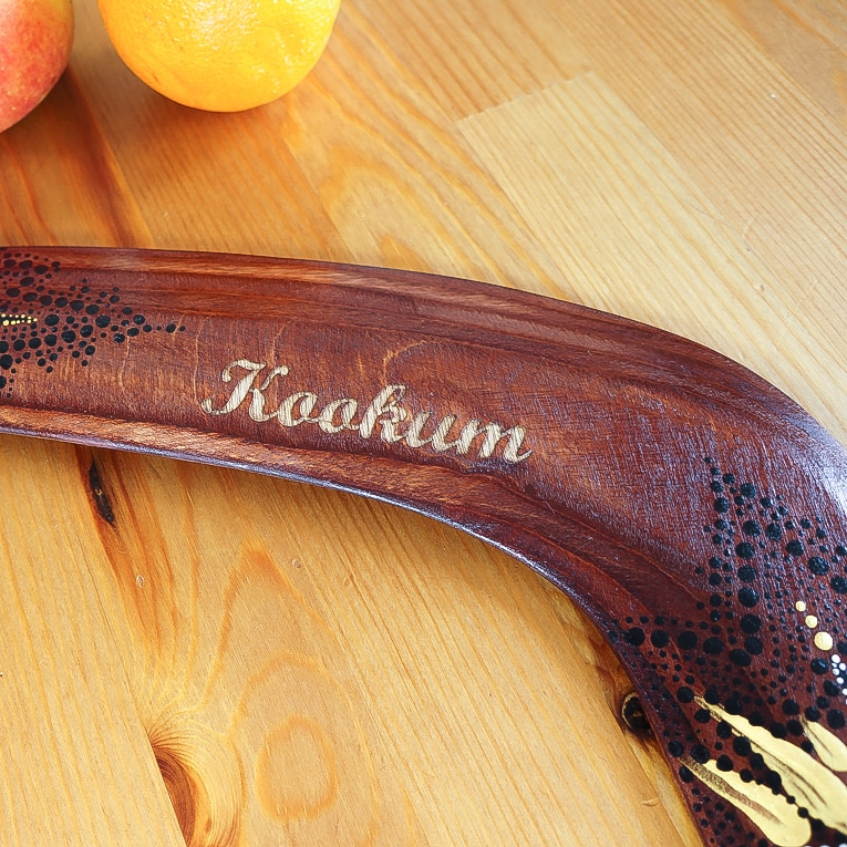 Boomerang Aboriginal personalized wood gifts to Australia laser engraved text