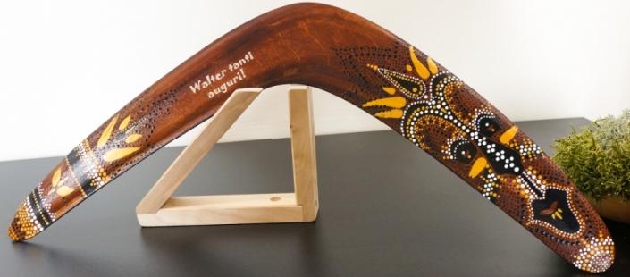 Aboriginal boomerang with wooden stand and personalization