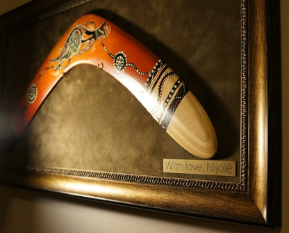 framed boomerang and prepared as present