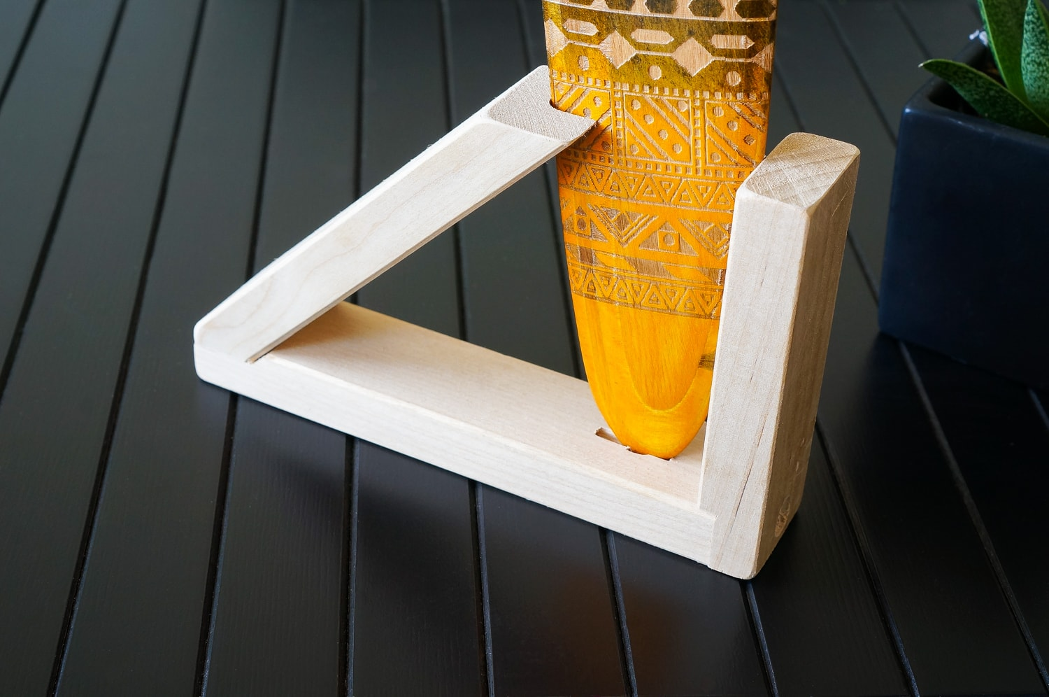 Wooden stand for boomerang. Boomerang holder.