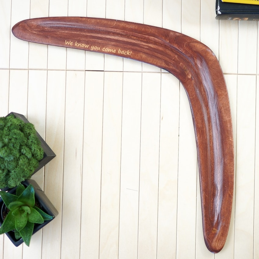 Personalized boomerangs customiszed text printed engraved on the back side of boomerang