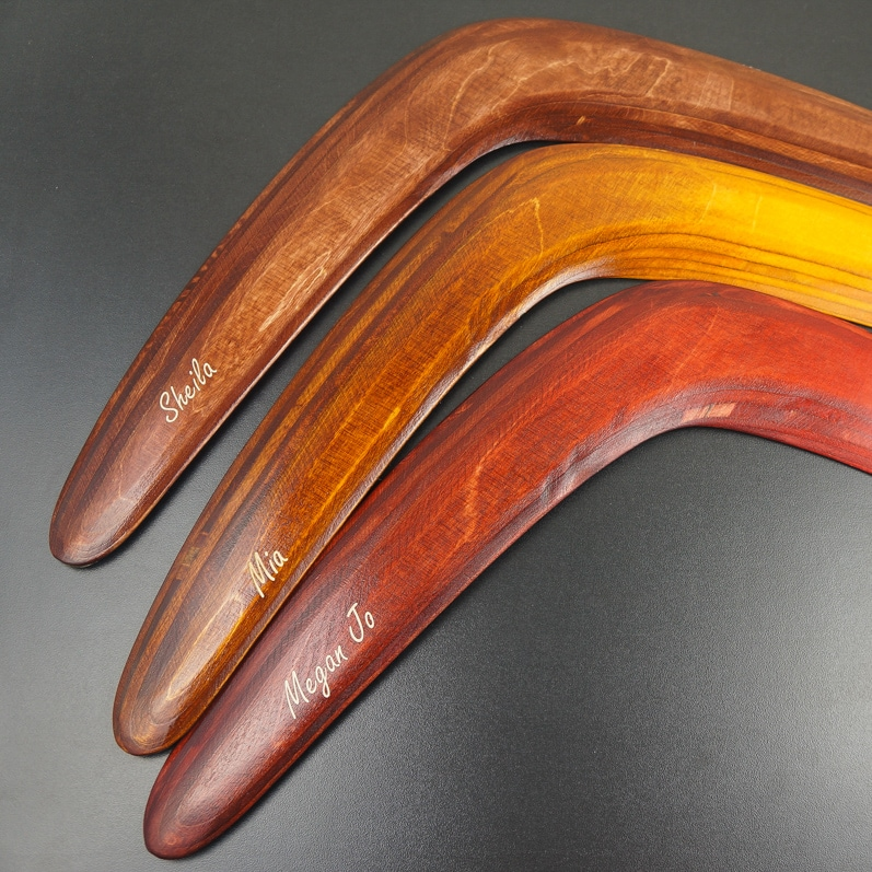engraved boomerangs functionning boomerang for sale