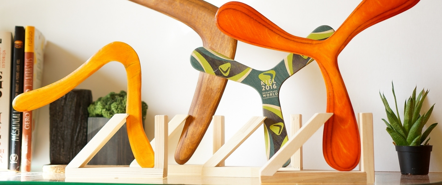 Wooden stands for boomerangs 2