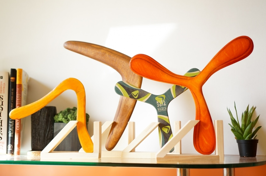 Wooden stands for boomerangs